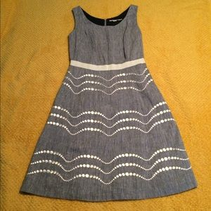 BODEN chambray dress with white embroidery
